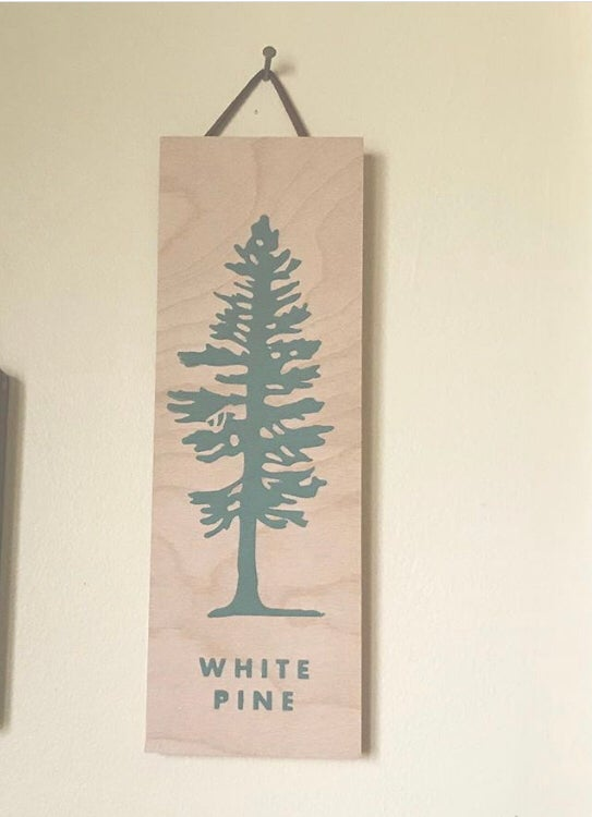 Image of White Pine - Birch Plank Screen Printed Sign