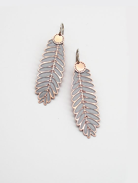 Image of LEAF EARRING: ACACIA DOT BLOSSOM GREY