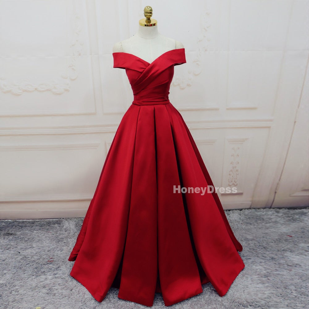 Image of Off Shoulder Wine Red Satin A-Line Long Prom Gowns, Burgundy Formal Dresses With Pleats Lace-UP Back