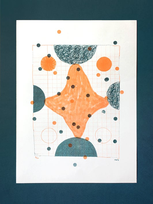 Image of This on That (Orange and Teal) - 2 colour Risograph print