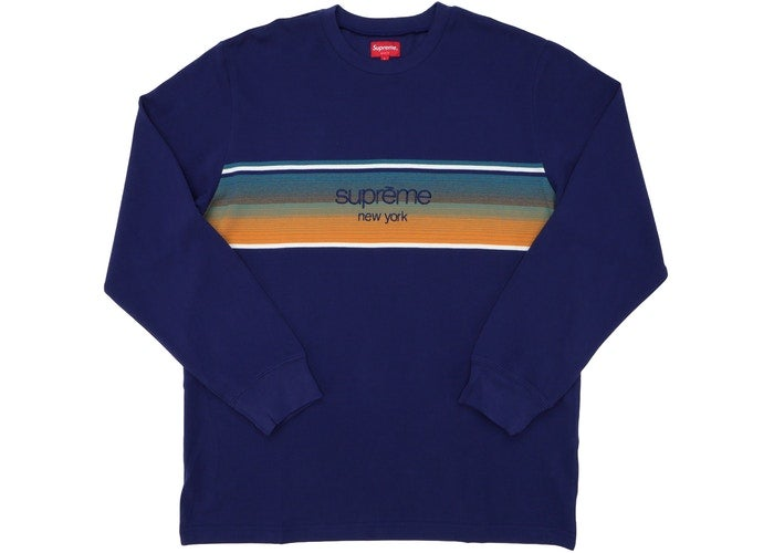 Image of Supreme Shadow Stripe LS Top Navy