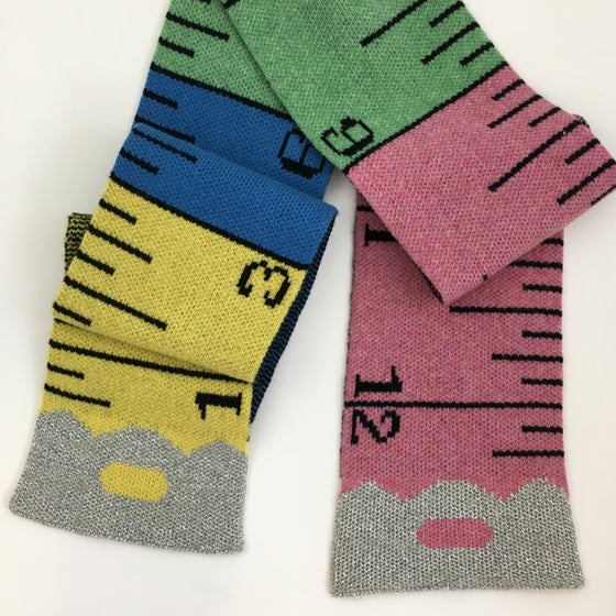 Image of Multicolour tape measure scarf