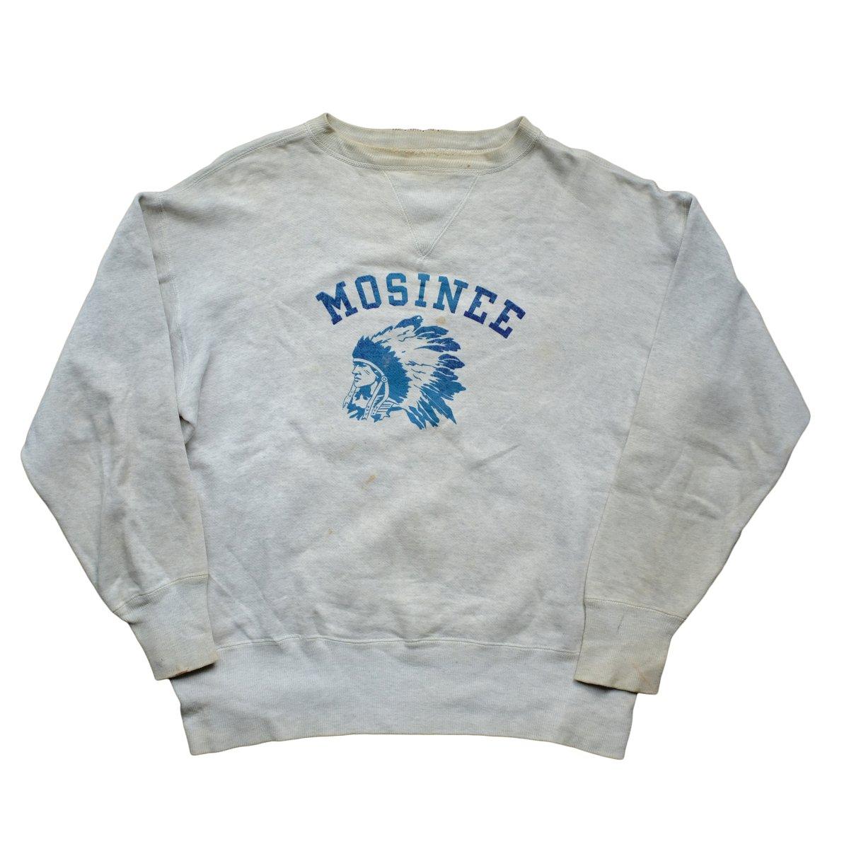 Image of 1940's Vintage Double V Flocked Indian Print Sweatshirt