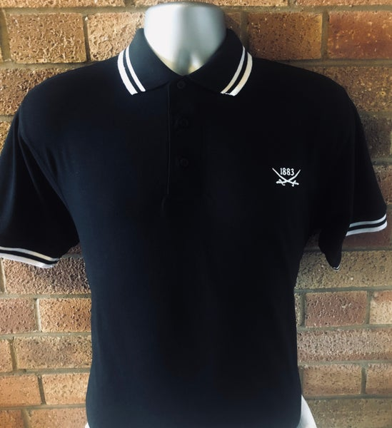 Image of Black and White Short Sleeved Polo Shirt