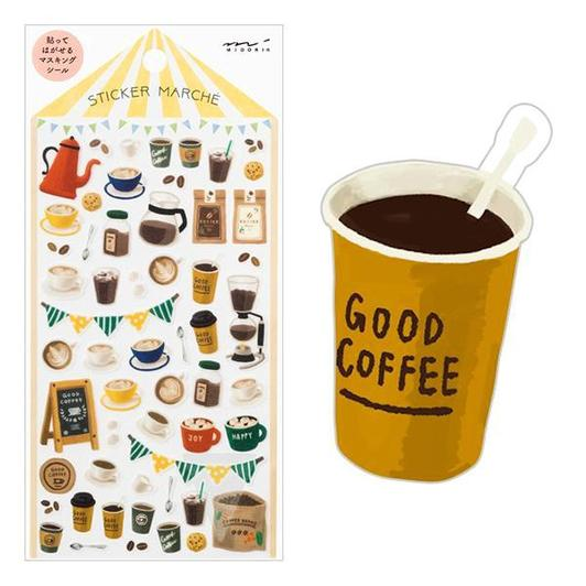 Image of MIDORI Sticker Marche Masking Seal Stickers - Coffee