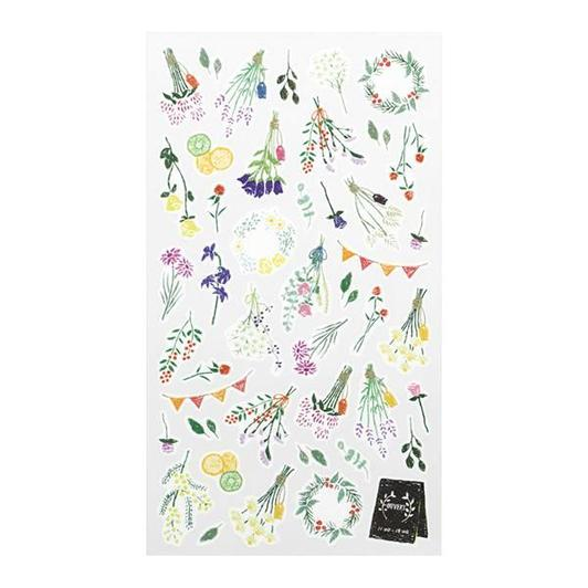 Image of MIDORI Sticker Marche Masking Seal Stickers - Dried Flowers