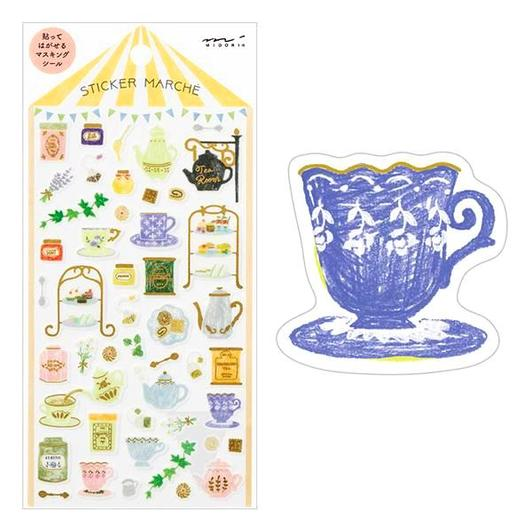 Image of MIDORI Sticker Marche Masking Seal Stickers - Tea Time