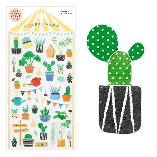 Image of MIDORI Sticker Marche Masking Seal Stickers - Cactus