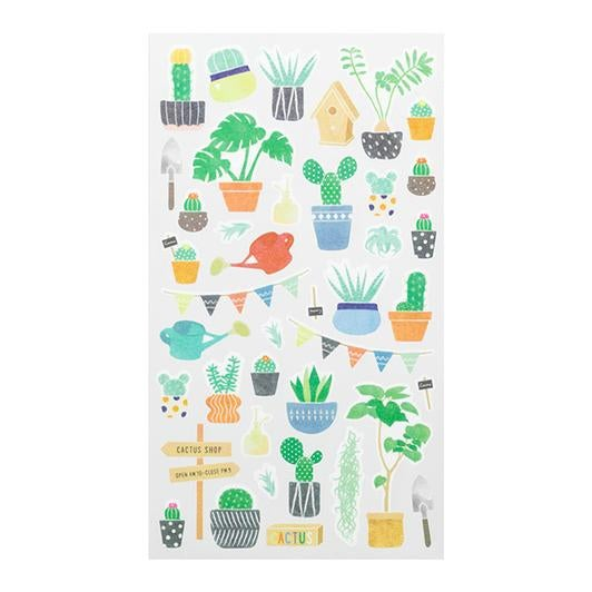 Image of MIDORI Sticker Marche Masking Seal Stickers - Cactus