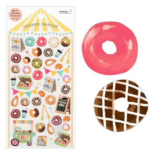 Image of MIDORI Sticker Marche Masking Seal Stickers - Donuts