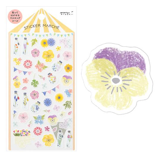 Image of MIDORI Sticker Marche Masking Seal Stickers - Pressed Flowers