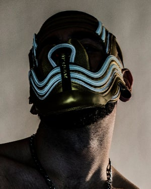 Image of GOLD SNEAKER MASK - AM 97 - HEAD PIECE