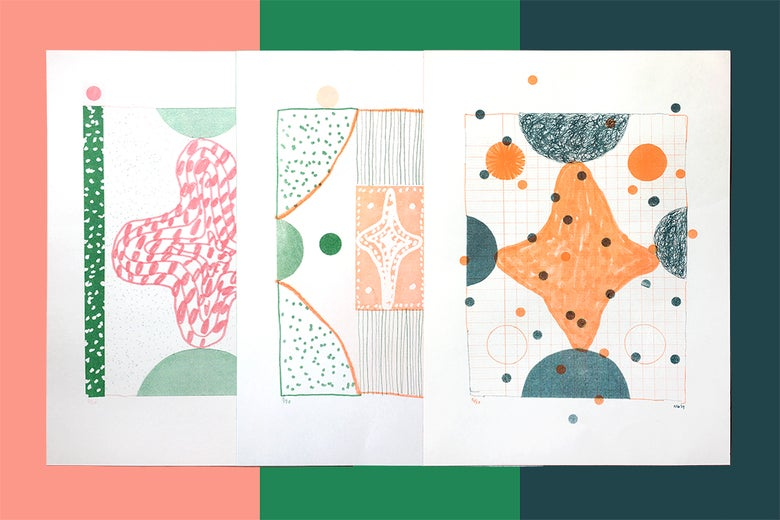 Image of All three This on That 2 colour Risograph prints