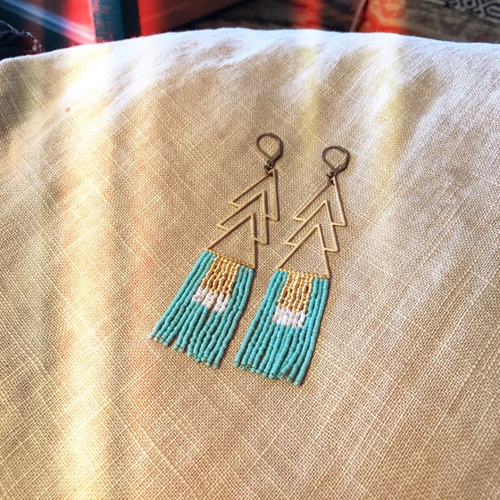 Image of Turquoise, white silk, and gold fringe earrings