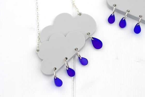 Rain Cloud Necklace  - Black Heart Creatives