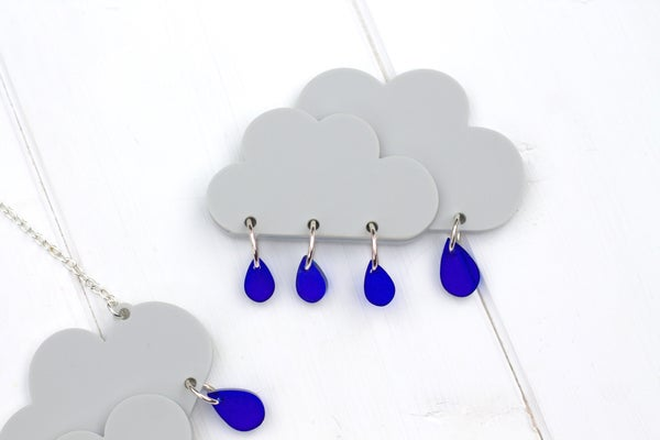 Rain Cloud Brooch - Black Heart Creatives