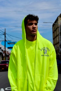 Image of NEON GREEN GIGP$ REFLECTIVE ZIPPER HOODIE