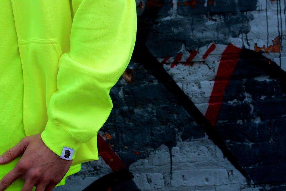 Image of NEON GREEN GIGP$ REFLECTIVE ZIPPER HOODIE