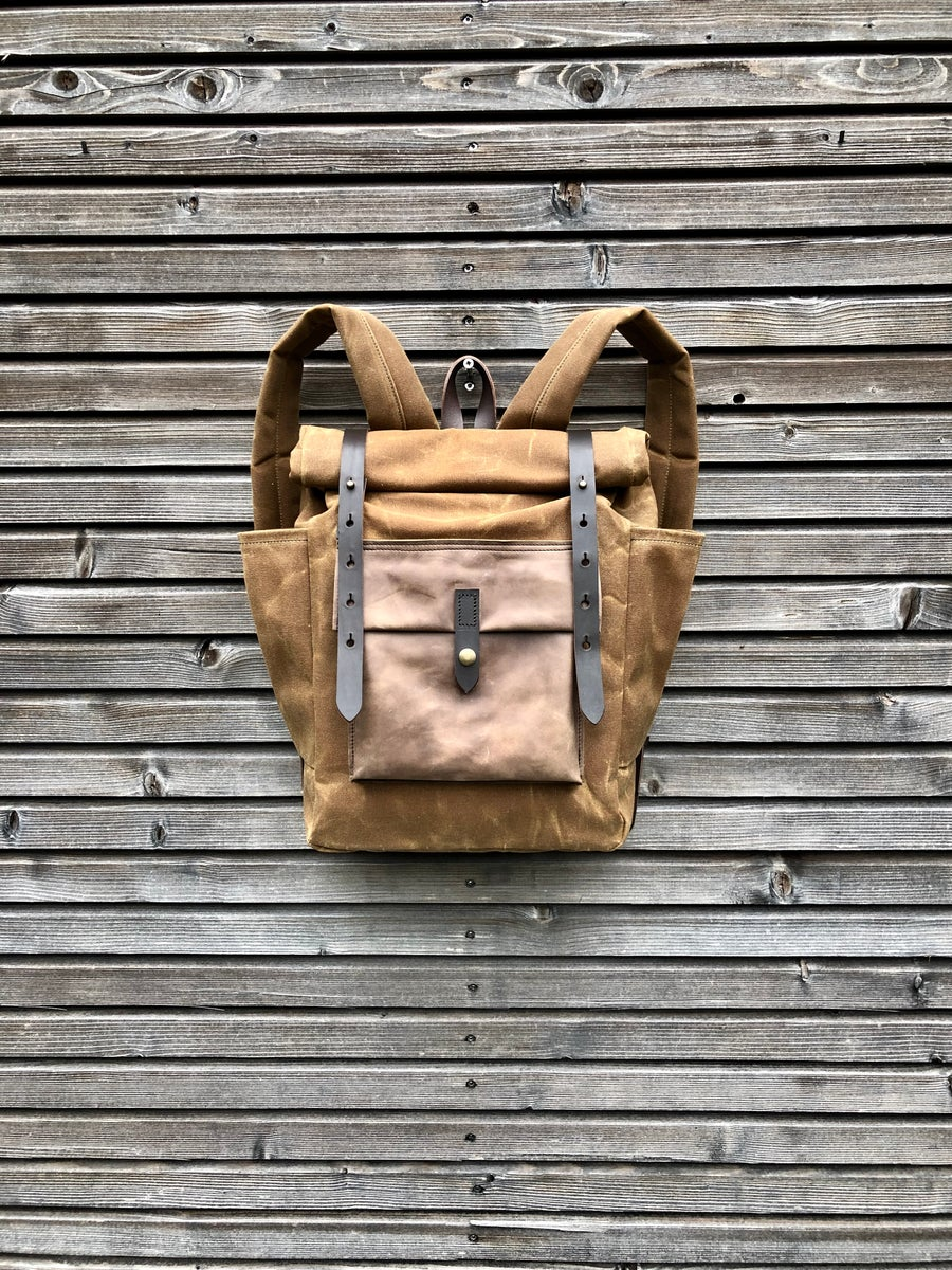 Image of Waxed canvas backpack with roll up top and double bottle pocket COLLECTION UNISEX