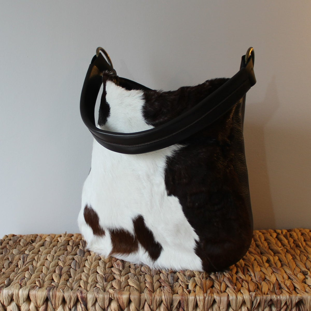 Image of Frankie in Chocolate Cow Hide