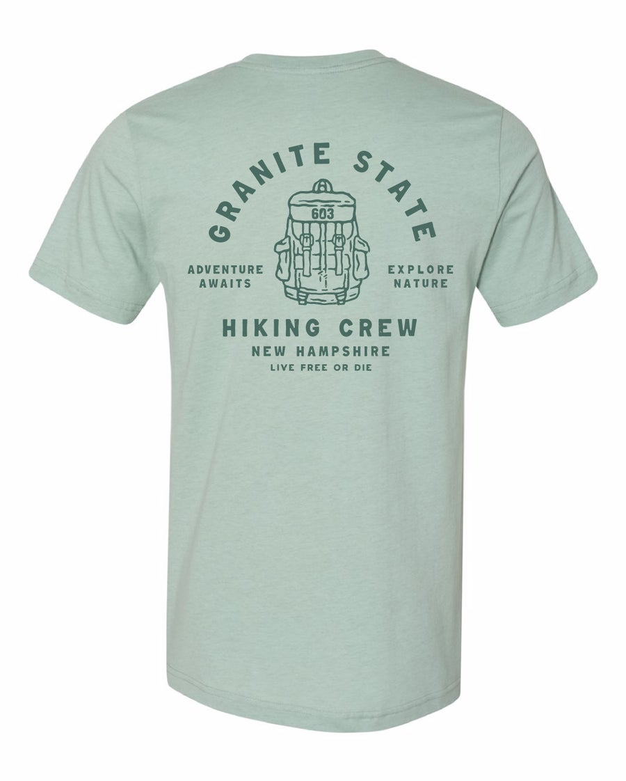 Image of Hiking Crew Unisex T-shirt- Dusty Blue