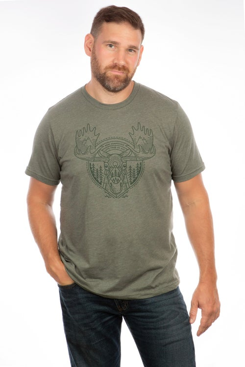 Image of Tribal Moose T-shirt- Forest Green