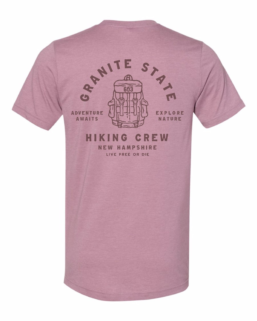 Image of Hiking Crew Unisex T-shirt- Heather Orchid