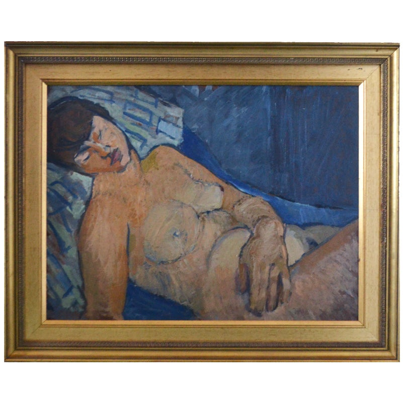Image of 20thc Painting, 'Blue Nude,'  Frank Simcock (1949-?)