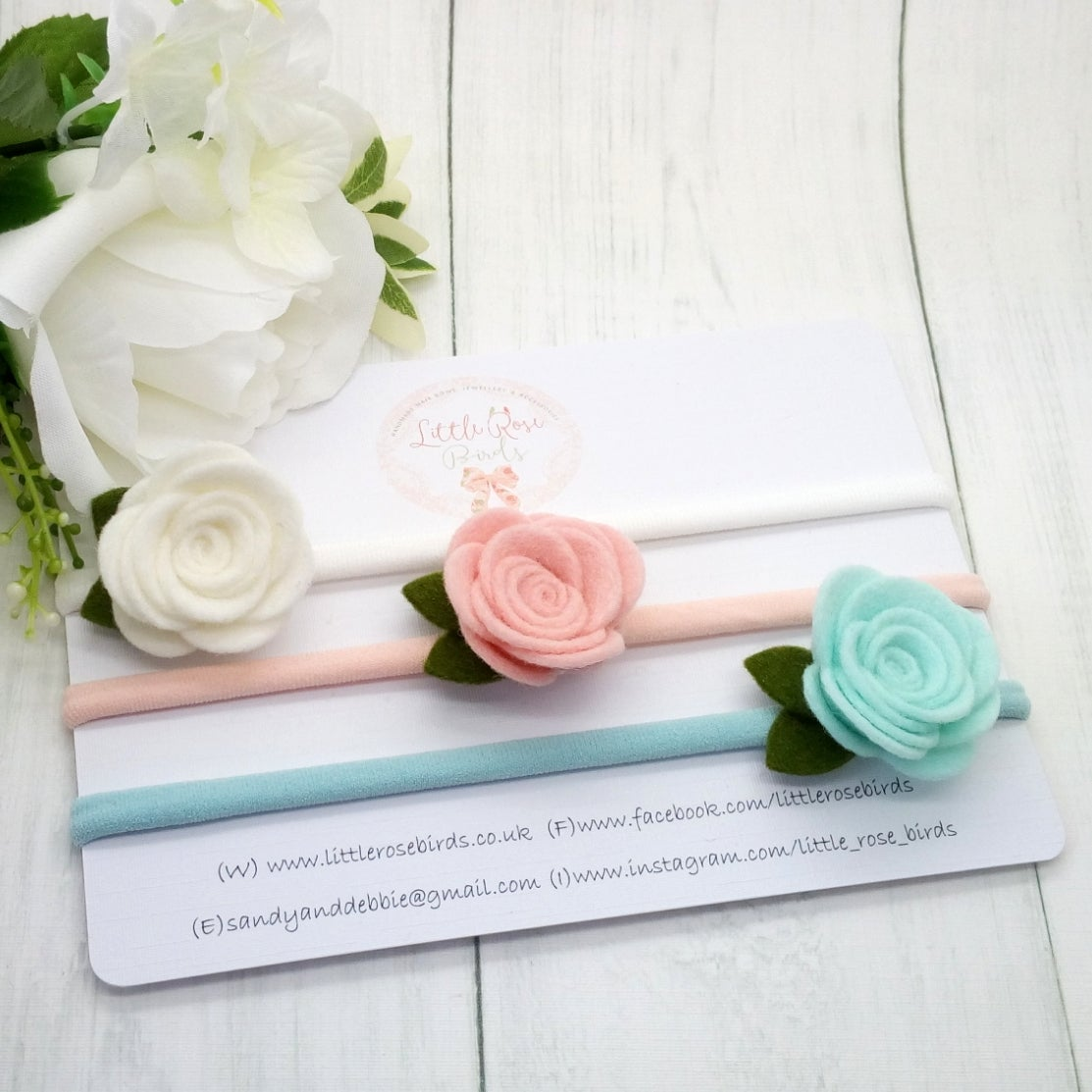 Image of SET OF 3 White/Blush/Spearmint Medium Rose Clips or Headbands