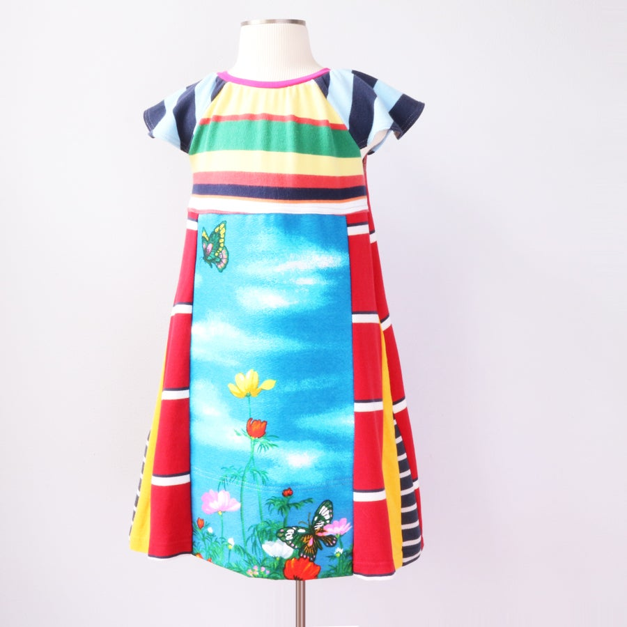 Image of classic superstripe vintage fabric 4T floral butterfly retro stripes print flutter sleeve dress