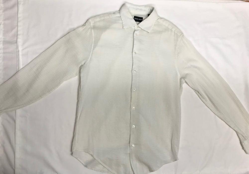 Image of Giorgio Armani White Ribbed Shirt