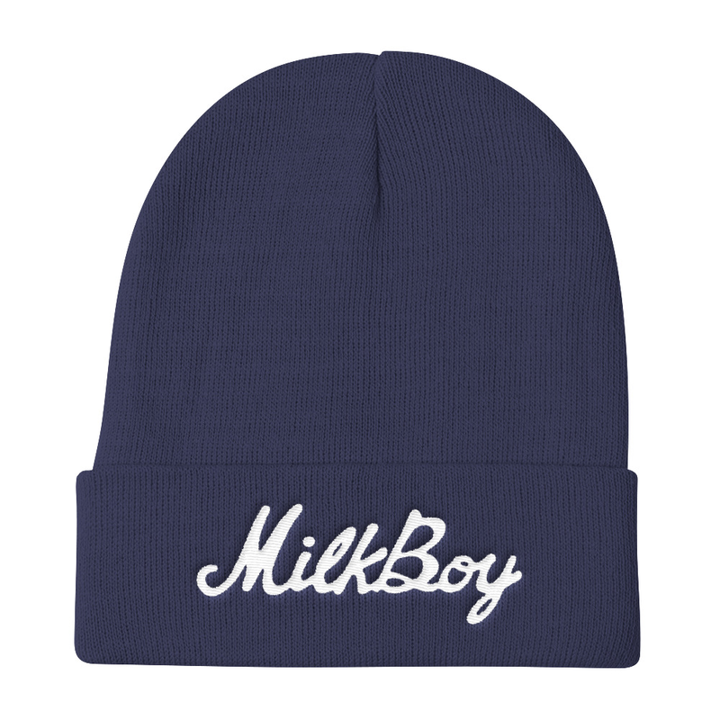 Image of Script Beanie - Navy Blue