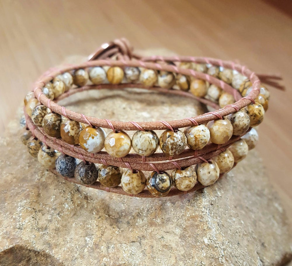 Image of Light Brown Jasper Wrap Bracelet