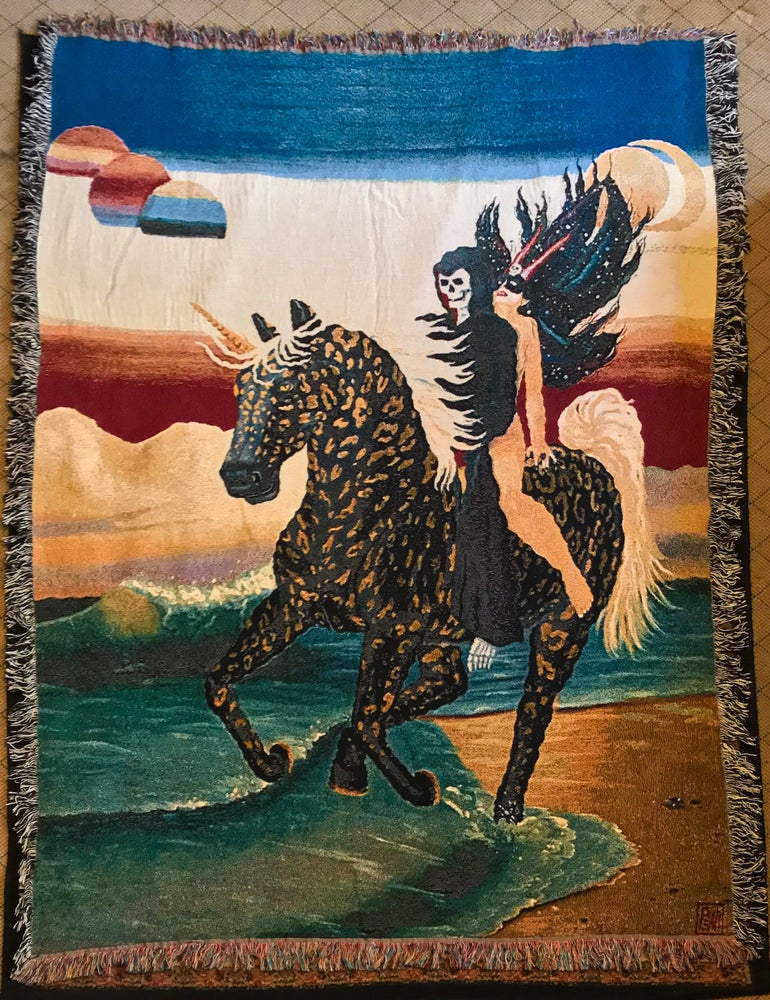 Image of Night Ride on Acid Beach woven blanket