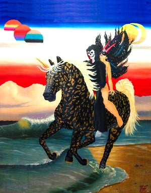 Image of Night Ride on Acid Beach woven blanket PREORDER
