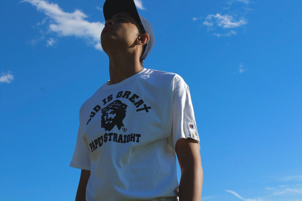 Image of GIGP$ BIG FACED LOGO WHITE TEE