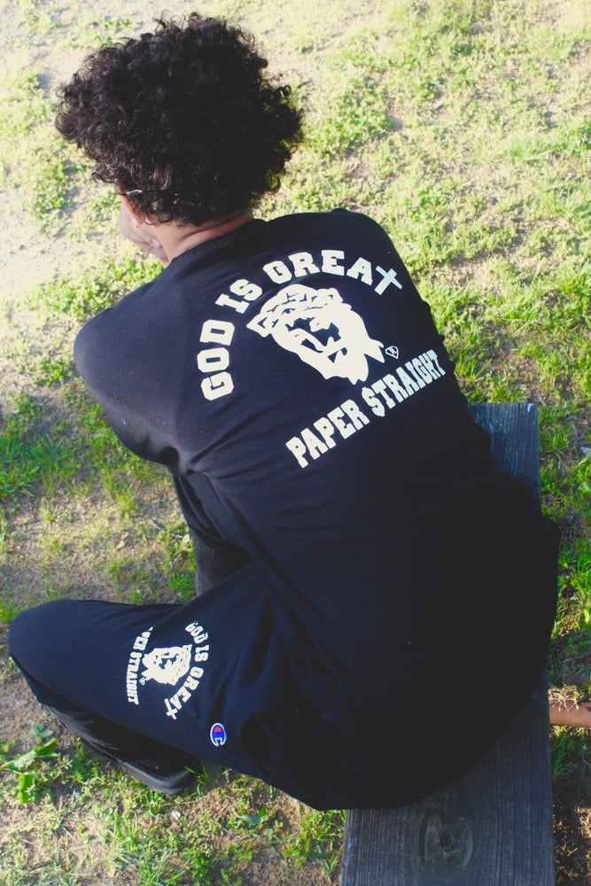 Image of BLACK GIGPS LONG SLEEVE FRONT BACK LOGO TEE