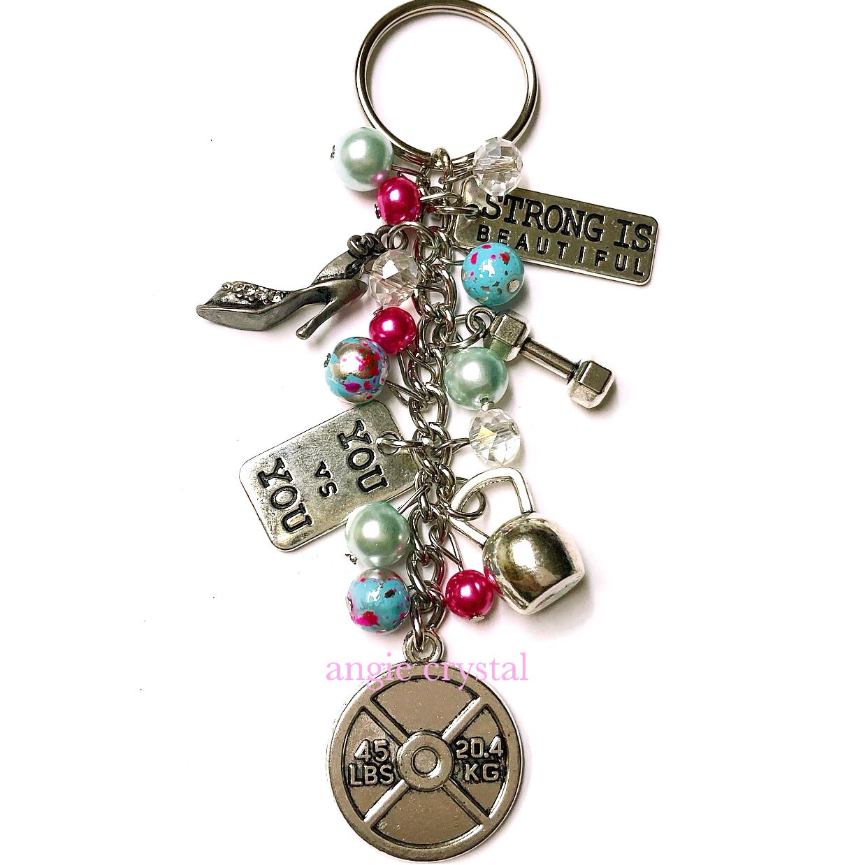 Image of Blue & Pink Fitness Key Chain