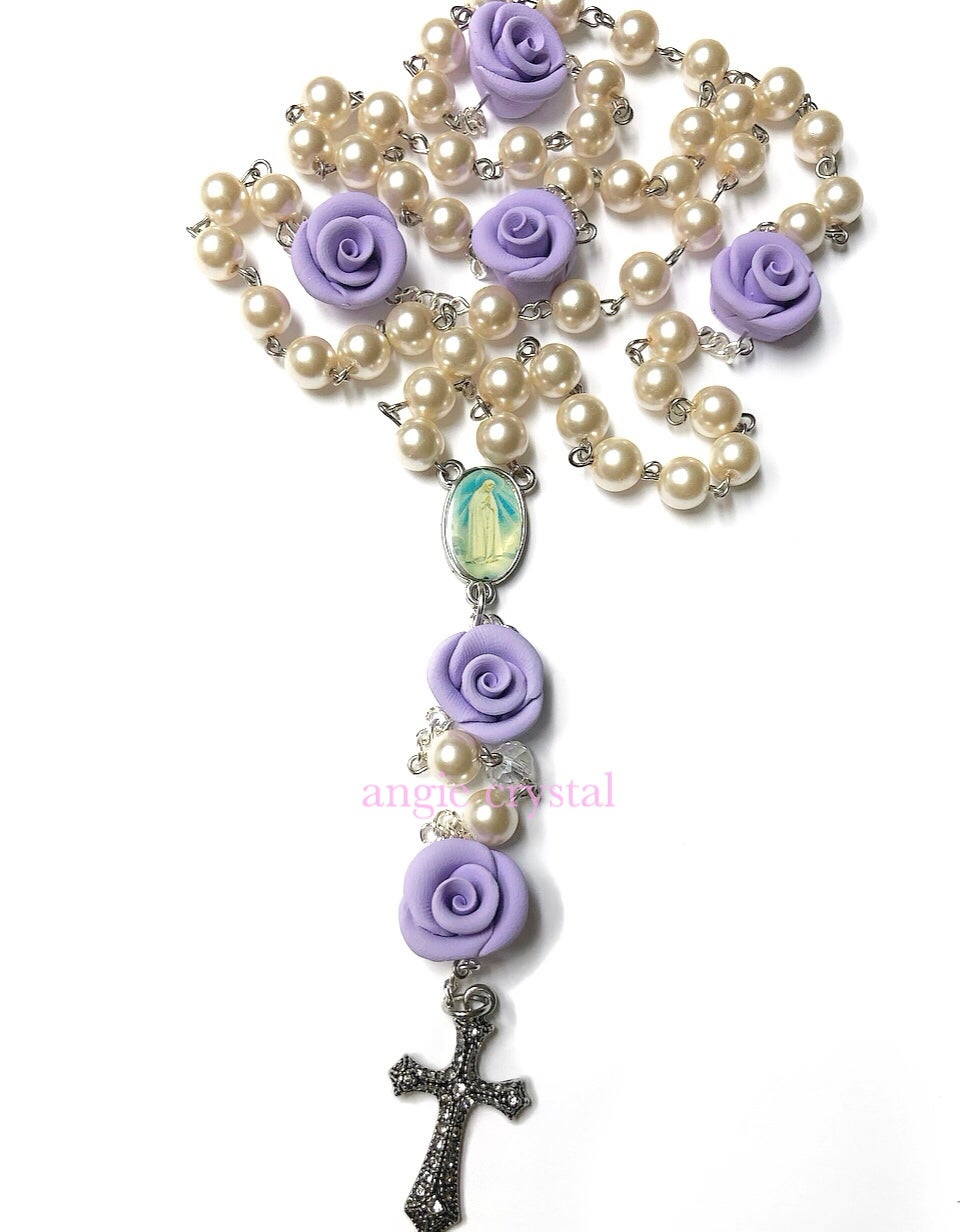 Image of Lavender & White Pearl Rosary