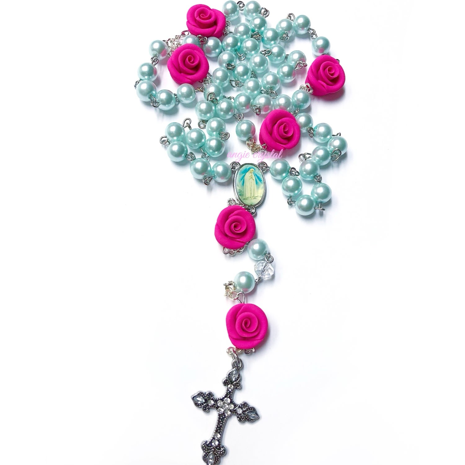 Image of Candy Pink & Blue Pearl Rosary