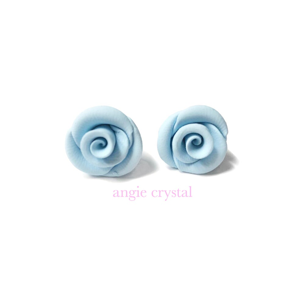 Image of Baby Blue Rose Stud Earrings