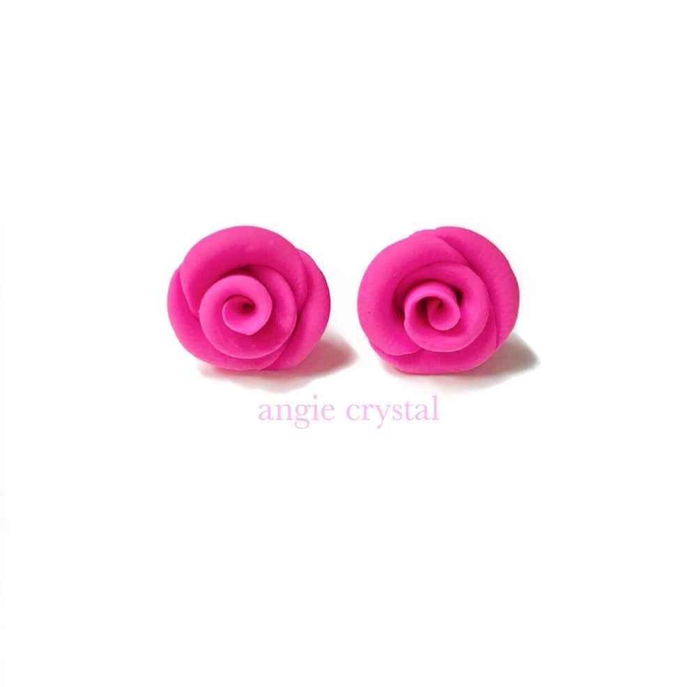 Image of Candy Pink Rose Stud Earrings