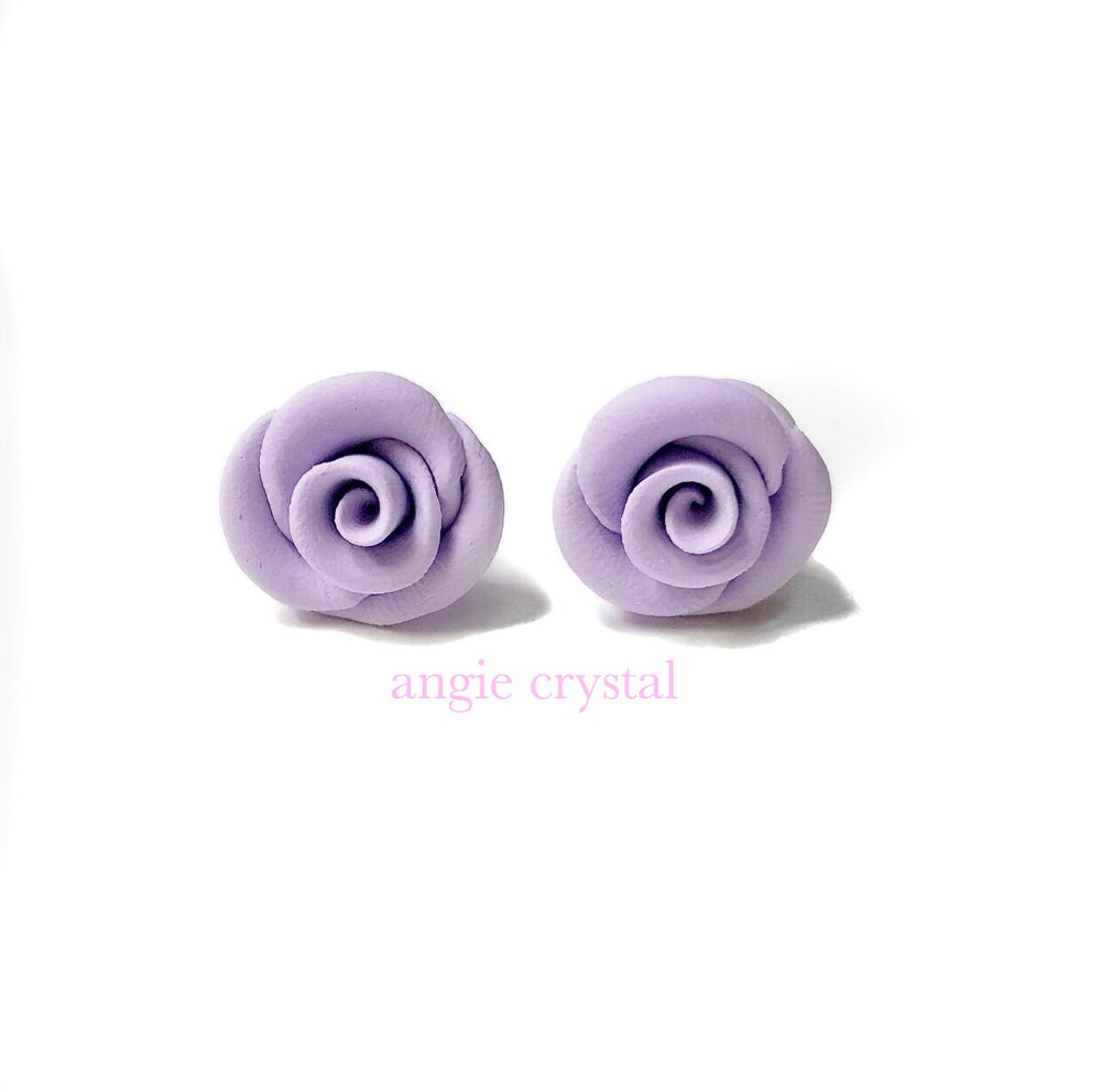 Image of Lavender Rose Stud Earrings