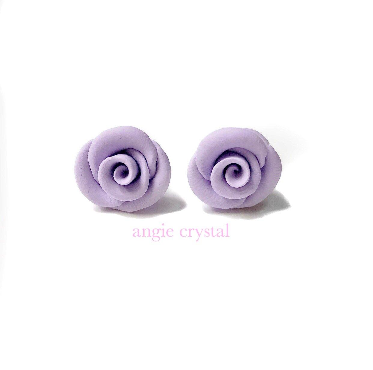 Image of Lavender Rose Stud Earrings