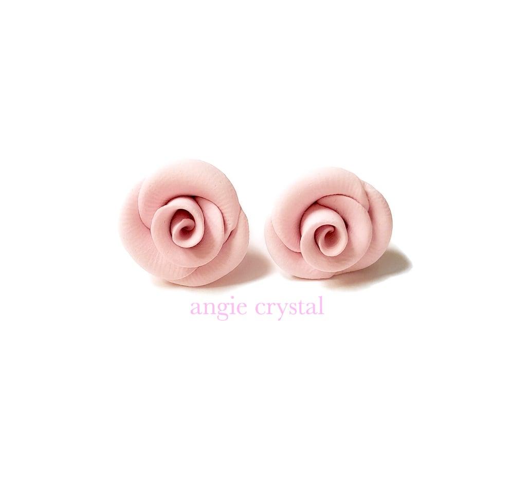 Image of Baby Pink Rose Stud Earrings