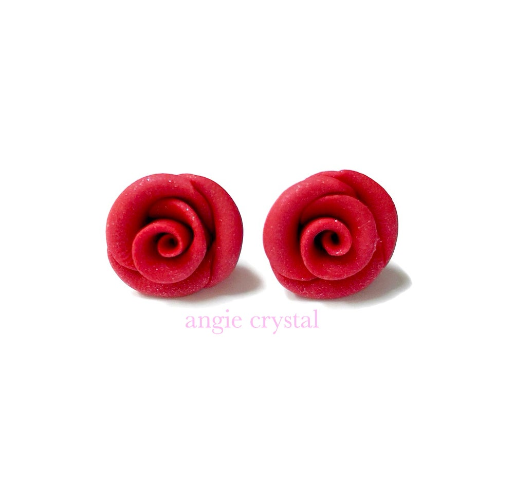 Image of Red Rose Stud Earrings
