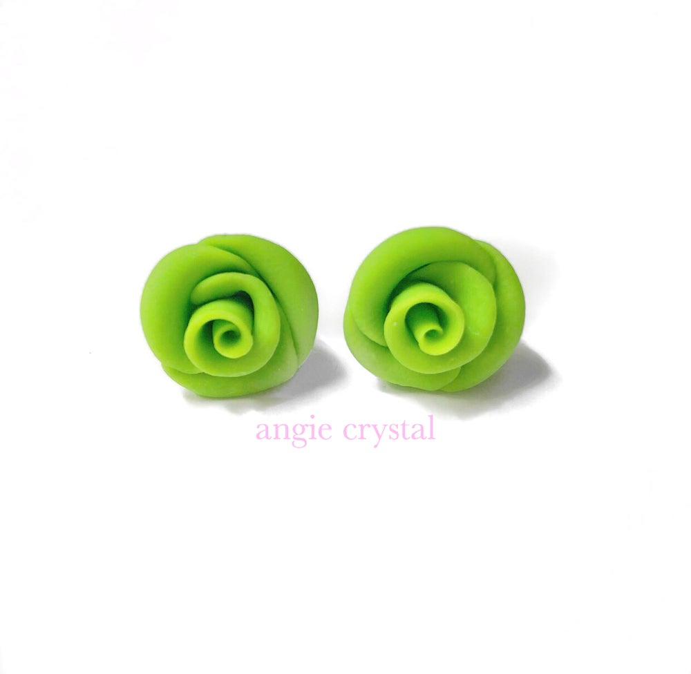 Image of Neon Green Rose Stud Earrings