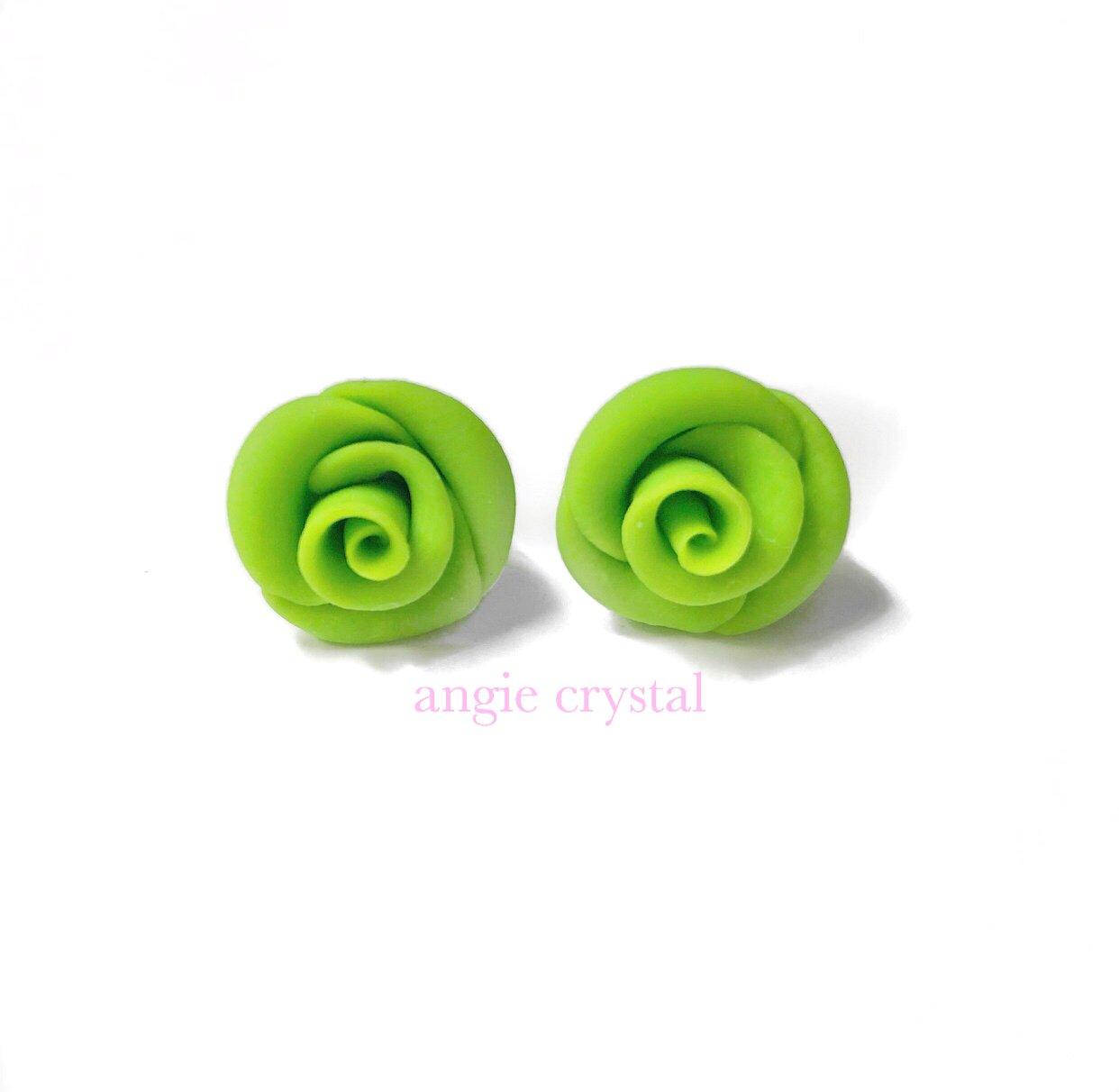 Image of Neon Green Rose Stud Earrings