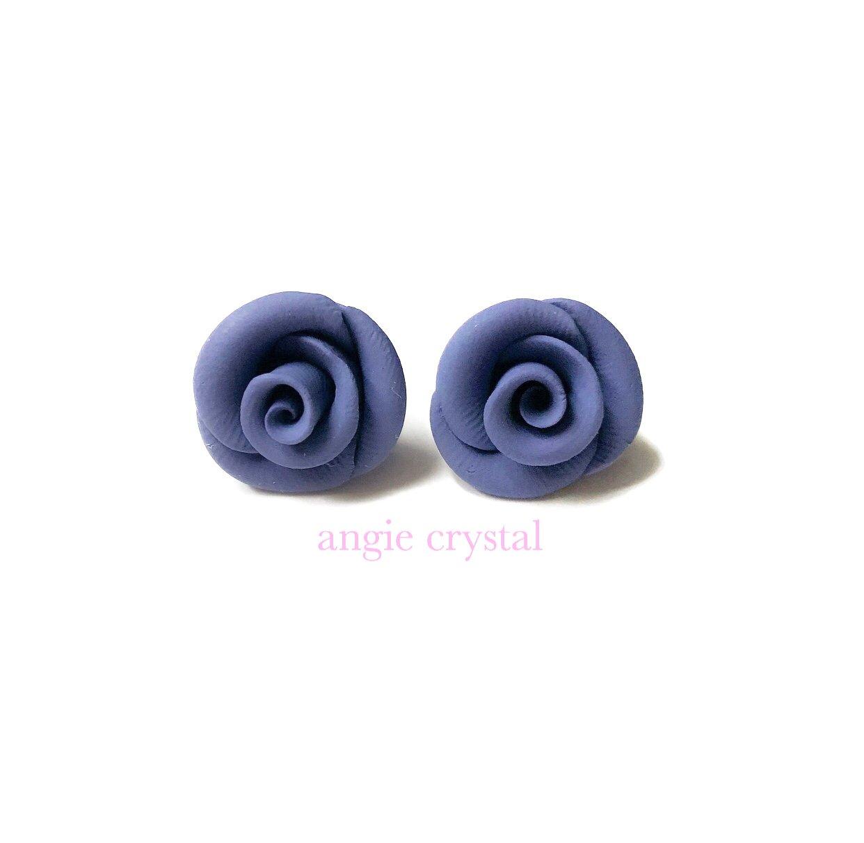 Image of Grey Blue Rose Stud Earrings