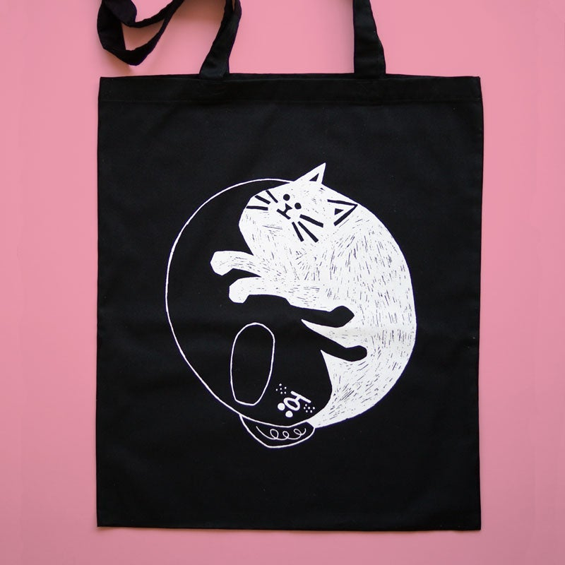 Image of Cat Dog, Tote Bag, Yin-Yang
